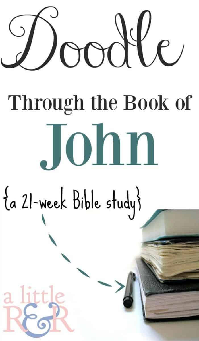 Take your Bible study to a whole new level with a new kind of Bible journaling. Here is a look at the Doodle Through the Book of John journaling workbook. #Alittlerandr #BibleJournaling #BibleStudy #onlineBiblestudy