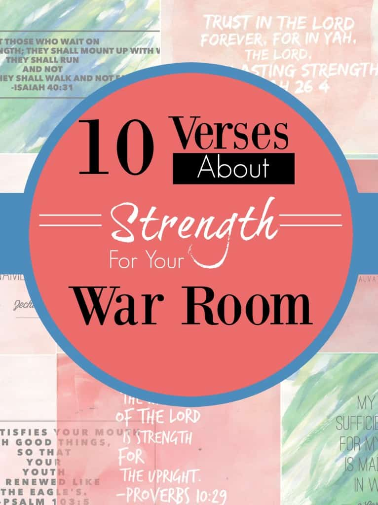 Here are 10 verses on strength for your war room to help remind you from where you strength comes on those days when you feel fatigued and weak! #alittlerandr #Bibleverses #WarRoom #Printable