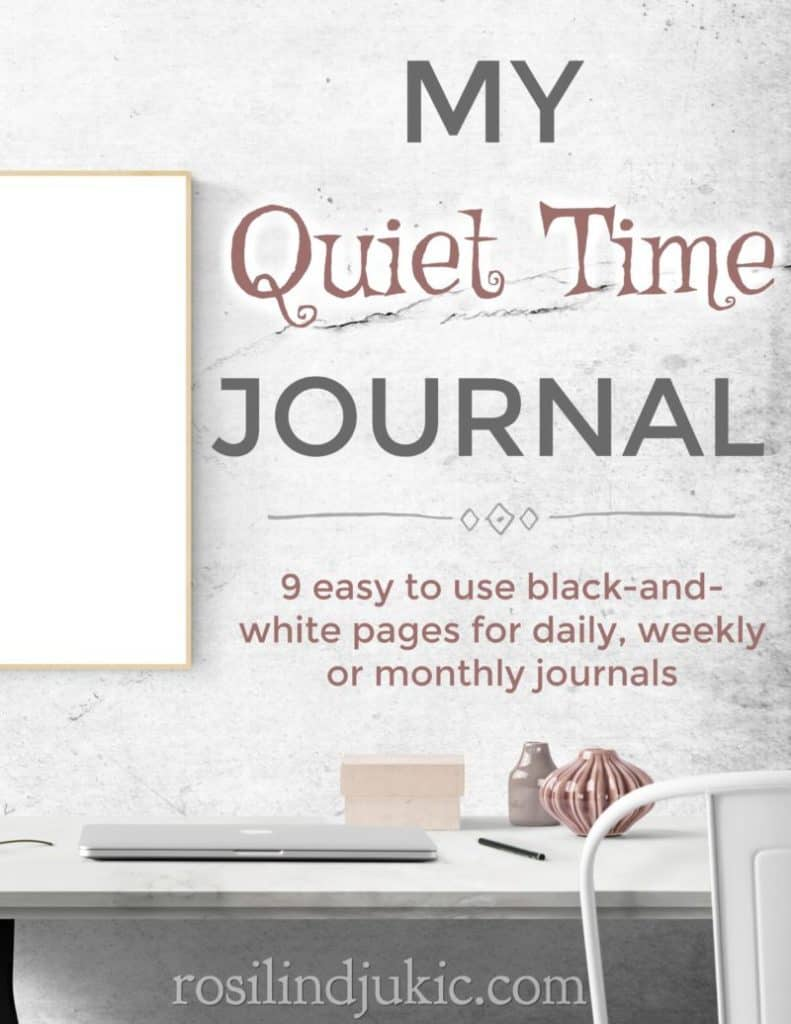 This free quiet time journal is simple and easy to use. It includes 9 black-and-white pages with probing questions and pages to track your prayer needs. #alittlerandr #quiettimes #Biblestudy #journal #biblejournaling