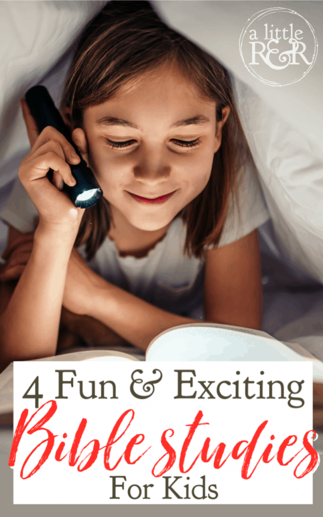 If you are looking for Bible studies to help build God's Word in your kids' hearts, here are four fun and exciting Bible studies for kids. #alittlerandr #kids #Biblestudies #parenting