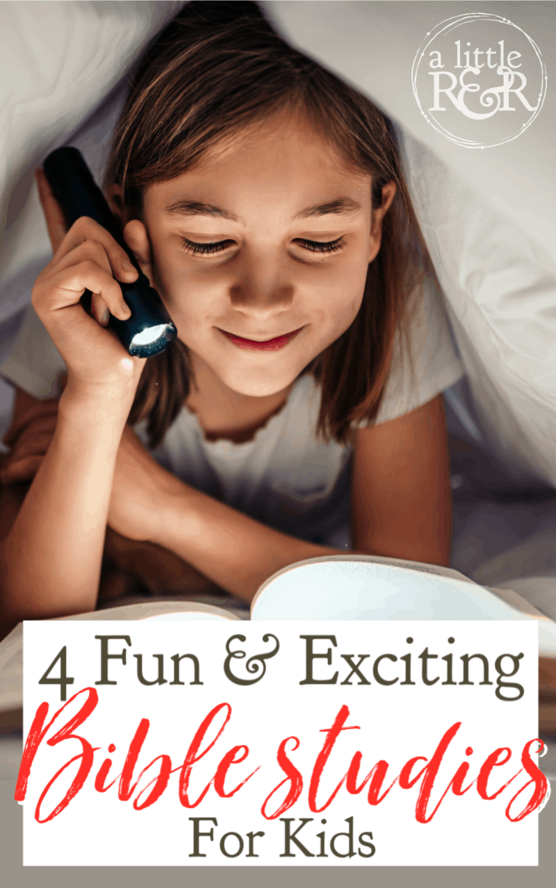 If you are looking for Bible studies to help build God's Word in your kids' hearts, here are four fun and exciting Bible studies for kids. #alittlerandr #kids #Biblestudies #parenting via @alittlerandr