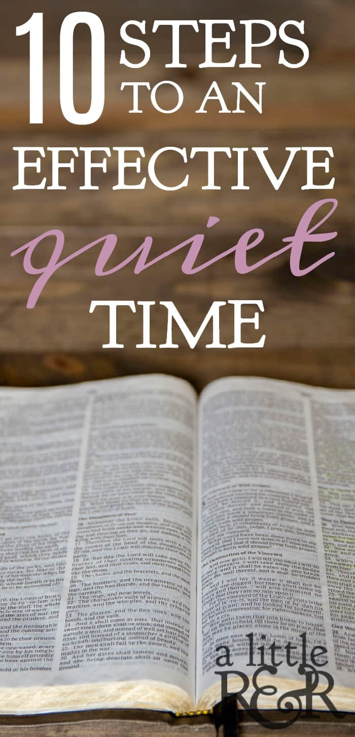 Steps to effective quiet time. Bible laying open on wooden backgroun