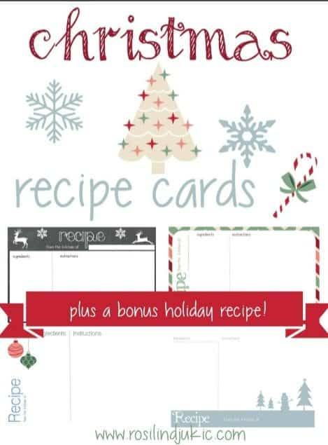Make Christmas baking extra-fun this year with these free Christmas Recipe Cards. Plus, they make a nice addition to Gifts-in-a-Jar or kitchen gadget gifts. #alittlerandr #recipecards #Christmas #freeprintable