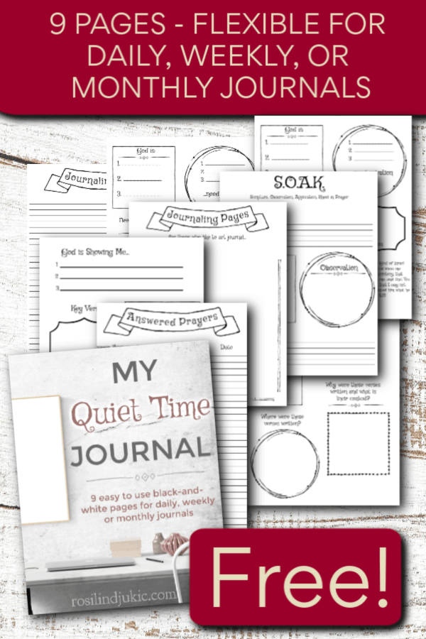 This 9-page Quiet Time Journal is flexible to use with a daily, weekly, or monthly Bible reading plan! Get your copy today for free. #alittlerandr #BibleReading #Biblejournal #Bible #Freebie #Printables