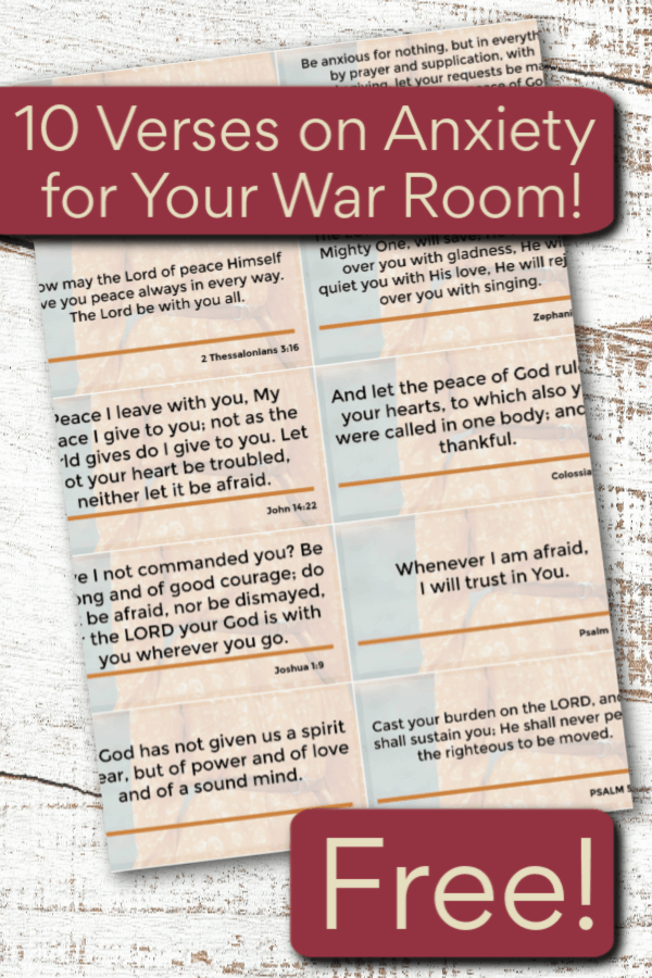 10 power verses on anxiety for your war room to help you overcome fear, anxiety and panic attacks, and renew your mind with God's Word. #alittlerandr #anxiety #Bibleverses #warroom #fear #stress