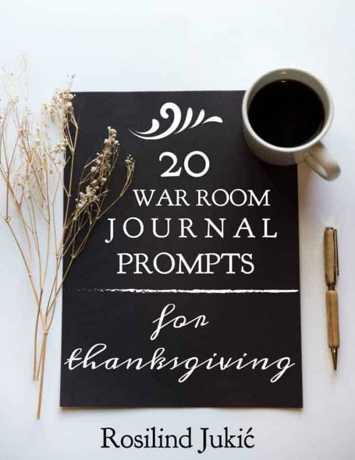 20 War Room Prayer Journal Prompts for Thanksgiving is a resource that helps you to probe deep down in your heart to find prayer of thanksgiving to God. #alittlerandr #thanksgiving #prayerjournal #journaling #prayer #warroom