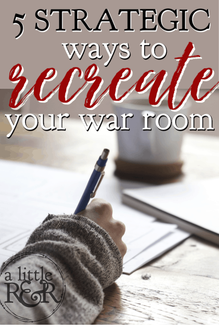 If your war room is neglected or become a more of a hobby than a place to strategize against the enemy, here are 5 strategic ways to recreate your war room. #alittlerandr #revival #warroom #prayer