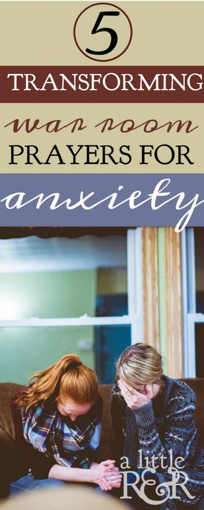 If you're battling anxiety, depression, and stress, the Bible is full of verses that boost our faith and trust in the Lord. Here are 5 transforming war room prayers that will help you win the victory over anxiety! #alittlerandr #anxiety #stress #prayer #Bibleverses #warroom