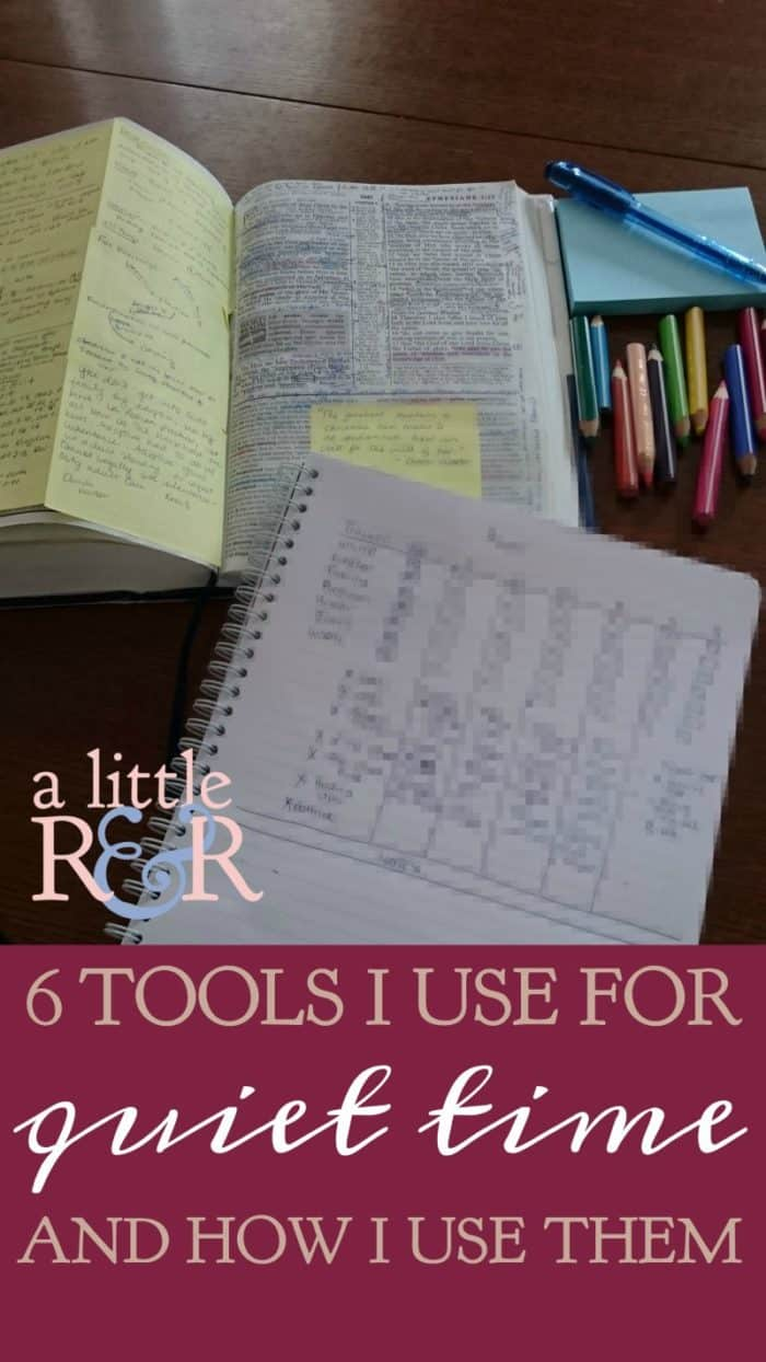 Its easy to get overwhelmed with all the tools and printables that could be used in a quiet time. Keep it simple with these 6 things I use in my quiet times. #alittlerandr #quiettimes #journaling #Biblejournaling #Biblestudy via @alittlerandr