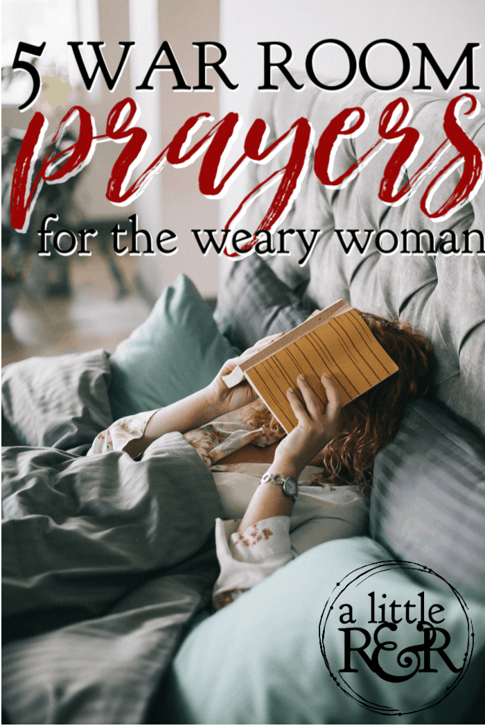 As women, we often have so much going on in our lives that we don't take the time to rest properly. We get exhausted very quickly and don't often bounce back well. Most women at some point find themselves weary. If that is you, here are 5 war room prayers for a weary heart. #alittlerandr #wearywomen #warroom #fatigue #bibleverses