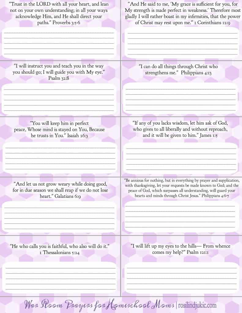 Get these 10 verses for homeschooling moms with room to write your own war room prayers. A Little R & R | Rosilind Jukić | Christianity | Christian living | Christian blog | Christian faith | Bible Verses | Homeschooling | War Room | Prayer | #homeschooling #prayer #warroom #Bibleverses #Christian #Christianliving #spiritual #spiritualgrowth #Bible #God #jesus