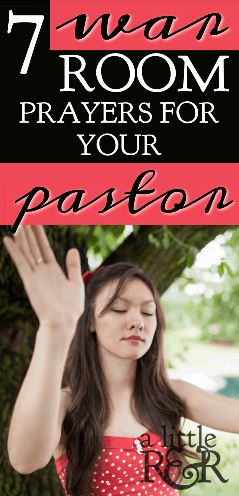 Pastors face a unique kind of stress, and often battle depression and anxiety. Here are 7 Bible verses to daily pray over your pastor. #alittlerandr #warroom #pastors #prayer