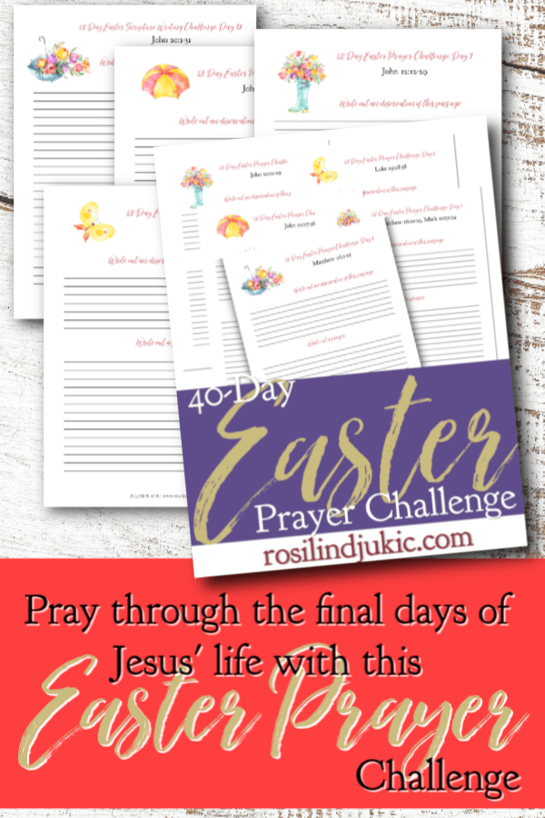 Pray through the final days of Jesus' life on earth with this 40 Day Easter Prayer Challenge and free Easter Reading Plan and journal. #alittlerandr #easter #bible #readingplan #quiettime #warroom
