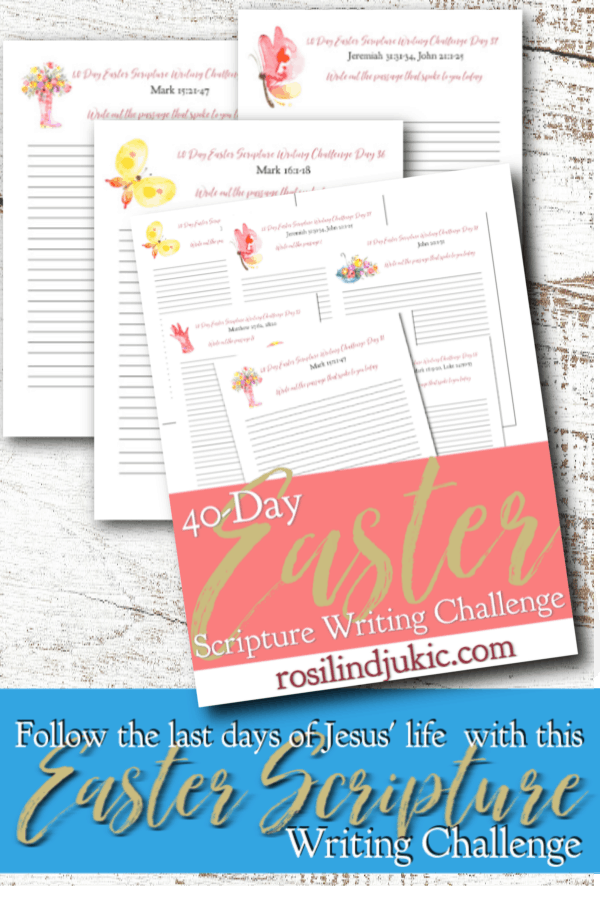 Intimately walk through Jesus' final days on earth with this 40 Day Easter Scripture Writing Challenge and free Easter Reading Plan and journal. #alittlerandr #easter #bible #readingplan #quiettime #warroom