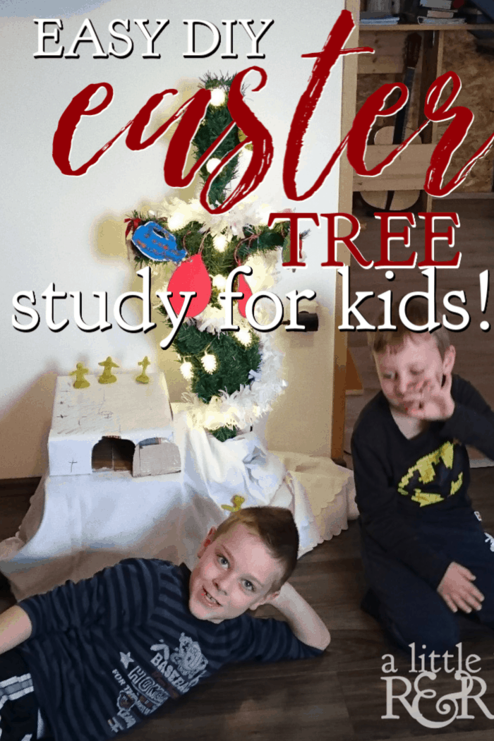 Help your children connect the events of Christmas and Easter with this easy DIY Easter Tree study for kids, complete with a reading plan and crafts. #alittlerandr #easter #easterstudy #eastercraftsforkids #kidfriendly