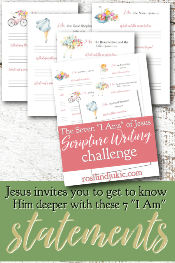 "Jesus invites you to get to know Him deeper with these 7 ""I Am"" statements in the book of John. Comes with a free 40-day Easter reading plan and journal. #alittlerandr #easter #bible #readingplan #quiettime #warroom"