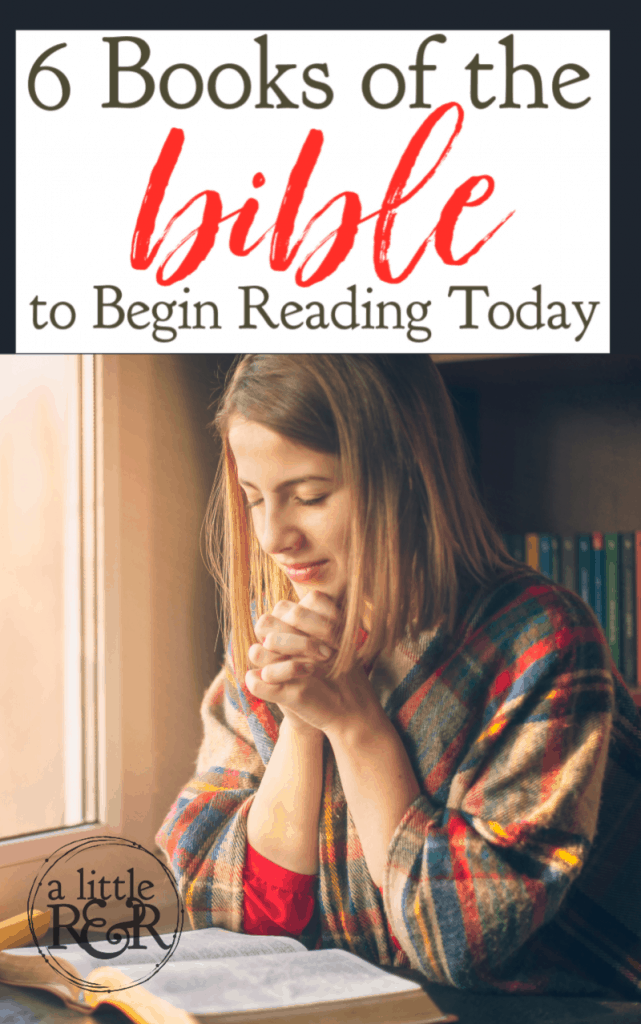 If you struggle with consistently reading the Bible because you don't know where to start, here are six books of the Bible to begin reading today. #alittlerandr #Bible #Biblereading #quiettimes #warroom