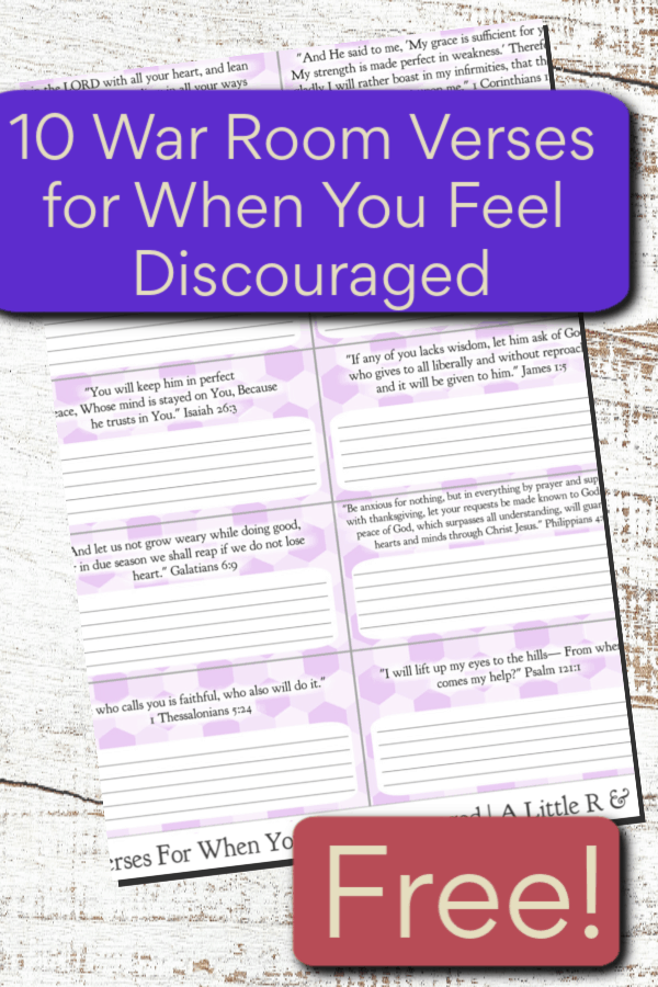 Life isn't fair and sometimes the unfairness and injustice frustrates us. Here are 10 war room verses you need for when you feel discouraged. #alittlerand #warroom #verses #printable #discouragement