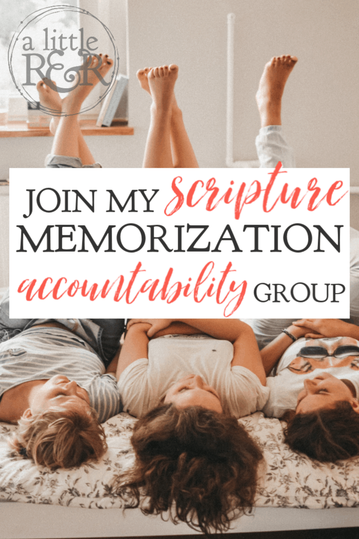 Join my scripture memorization accountability group today and begin hiding God's Word in your heart together with other fun, inspiring, and encouraging women. #alittlerandr #memorzing #Bible #jesus #God
