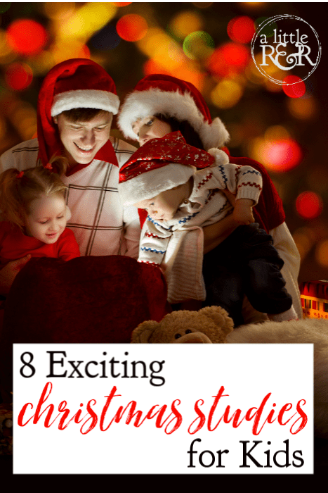 It can be difficult to help our family focus on the true meaning of Christmas. Here are 8 fabulous Christ-Centered Christmas studies for kids. #alittlerandr #Christmas #Christmasresources #homeschool #kids