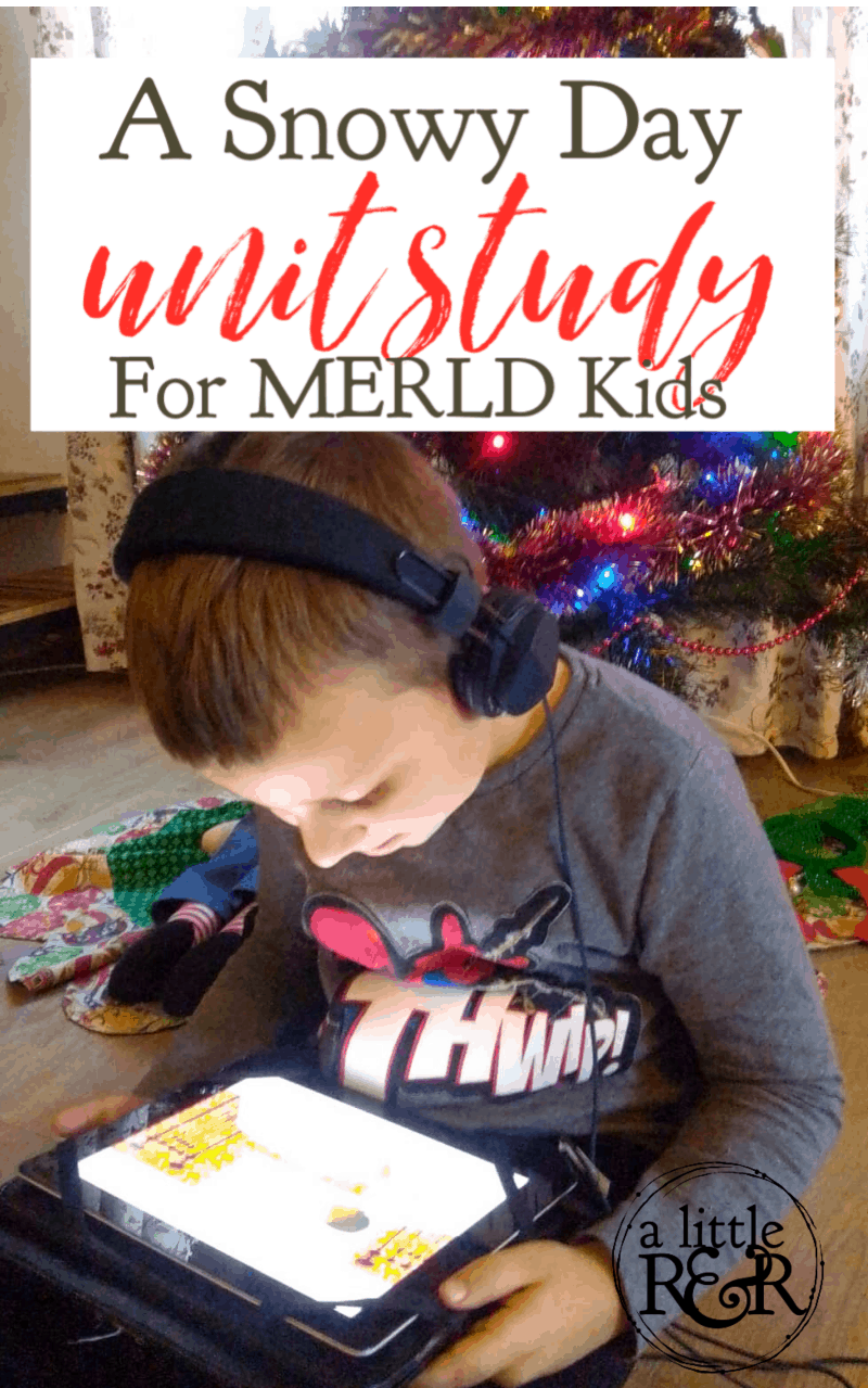 Find everything you need to help your child build language comprehension with with this simple Snowy Day Unit Study especially for MERLD kids. #alittlerandr #thesnowyday #homeschooling #merldhomeschool #specialneedshomeschooling #unitstudy #winter #EzraJackKeats