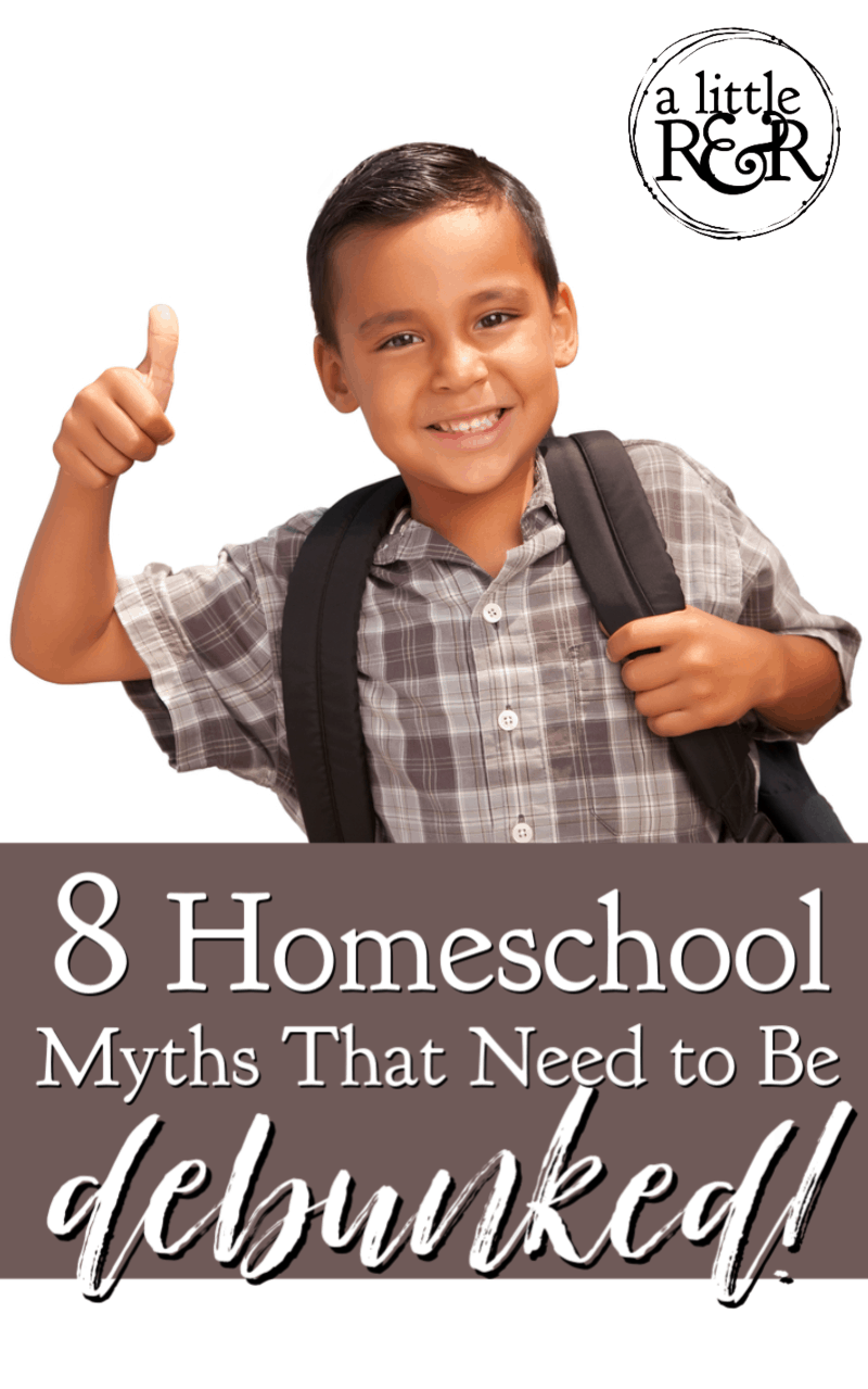 As a homeschool graduate and second generation homeschool mom, I've heard a lot of myths. Here are 8 homeschool myths that need to be debunked. #alittlerandr #homeschool #homeschoolhacks #homeschoolmyths
