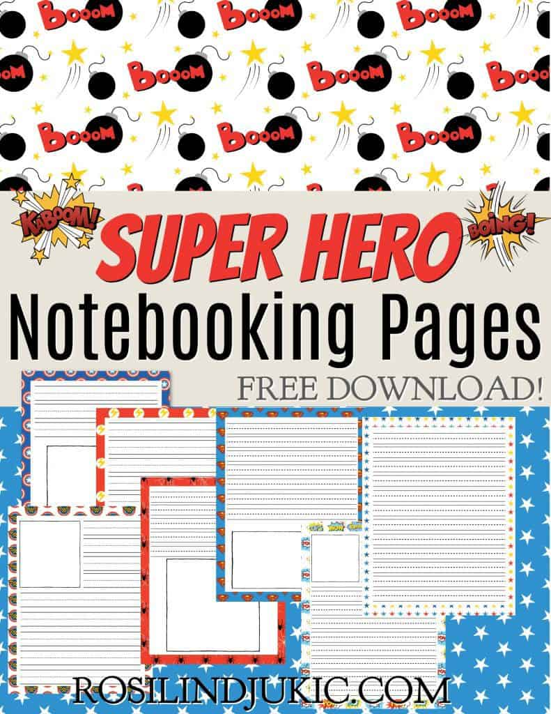 These superhero notebooking pages are fun, colorful, and perfect for boys. Notebooking is a great way to help kids retain new information. #alittlerandr #notebooking #notebookingpages #freedownloads #homeschooling