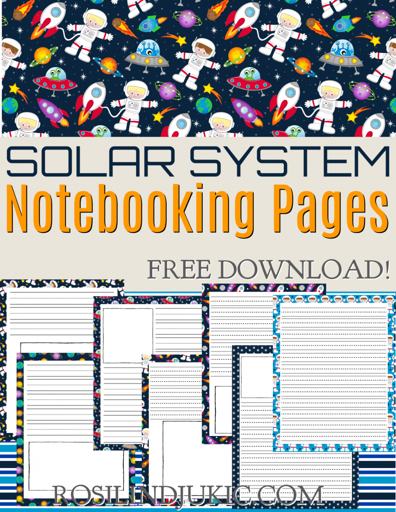 These solar system notebooking pages are colorful and fun; they are perfect to help your kids research and learn about our amazing Universe. #alittlerandr #notebookingpages #solarsystem #homeschooling #freeprintables