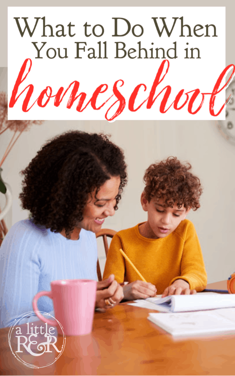When you fall behind in homeschool, it is frustrating and even discouraging. Here is what I learned my first year when we fell behind. #alittlerandr #homeschool #homeschoolmom #homeschooladvice via @alittlerandr