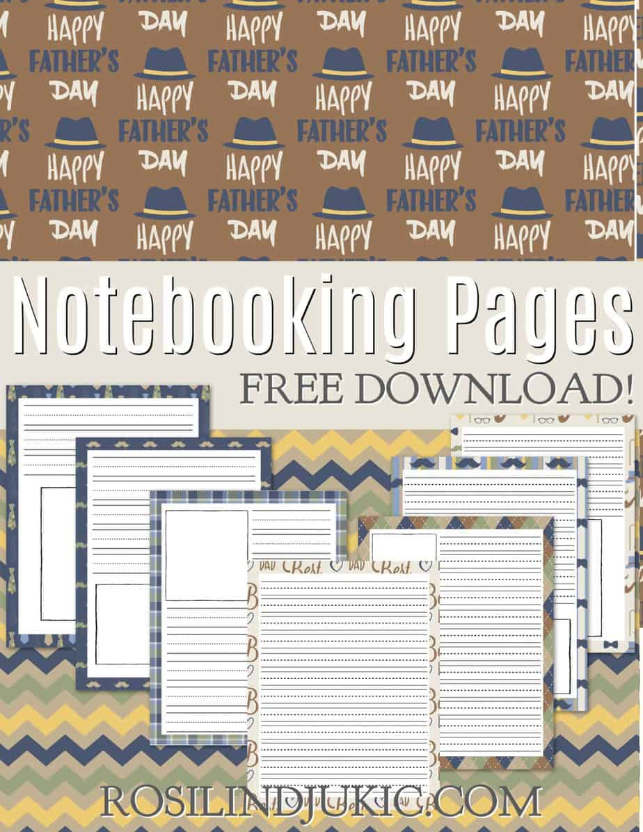 Grab these FREE colorful and masculine Father's Day Notebooking pages with backgrounds of hates, mustaches, pipes, and argyle patterns. #alittlerandr #notebooking #notebookingpages #freeprintables #fathersday via @alittlerandr