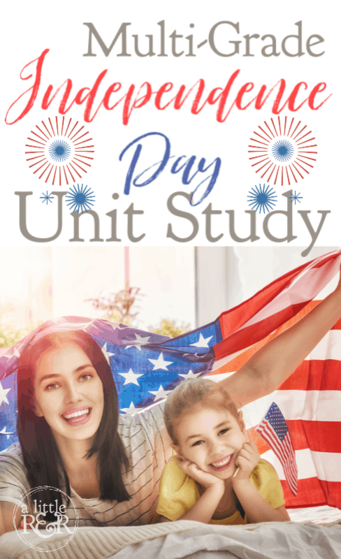 Mother and daughter under an American flag