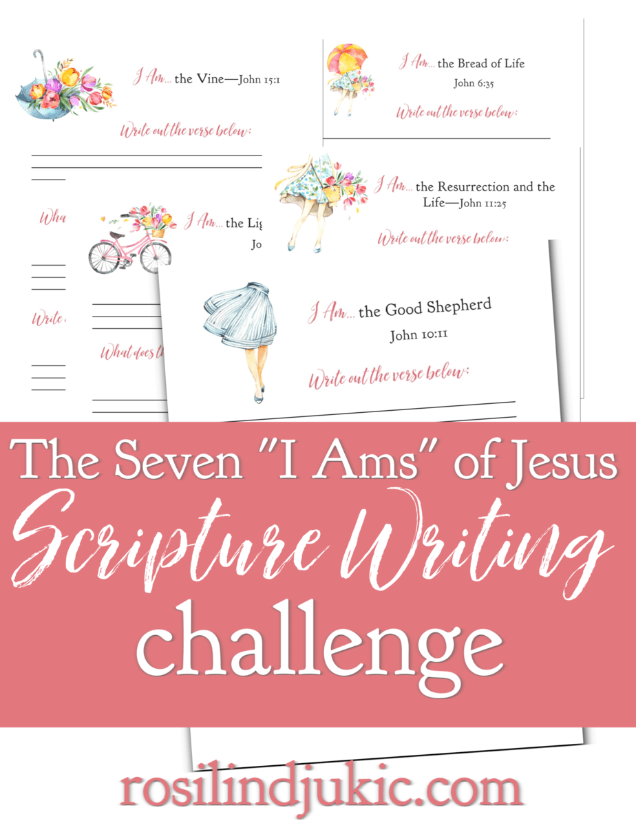 """This Seven """"I Ams"""" of Jesus Scripture Writing Challenge is a 7-page, colorful workbook that walks you through meditating on these very personal statements of Jesus. #alittlerandr #Easter #Biblestudy #Jesus #workbook #journaling via @alittlerandr"""