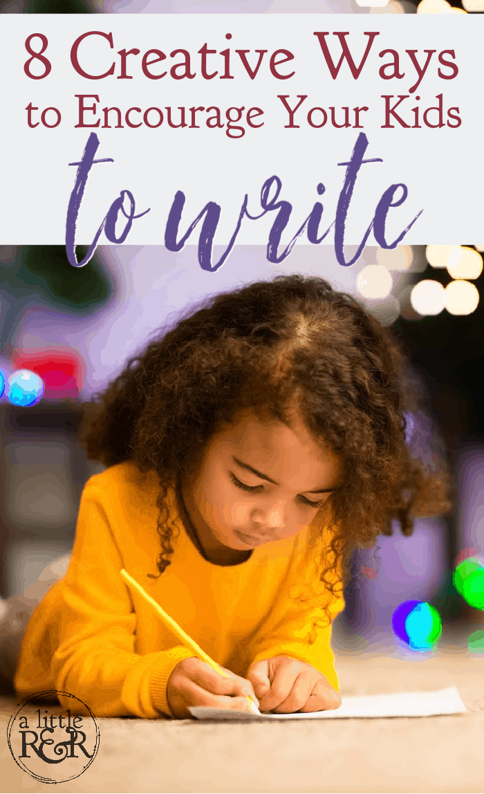 Is writing a fight for you and your child in your homeschool? Here are 8 creative ways to encourage your kids to write. #alittlerandr #homeschool #writing #notebooking homeschooltips via @alittlerandr