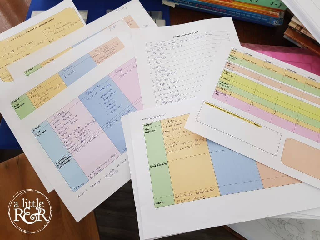homeschool planning sheets