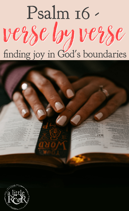 In this post, I take a look at Psalm 16, verse by verse, to find an incredible lesson for life, freedom, and joy. #alittlerandr #psalm #identityinchrist #boundaries via @alittlerandr